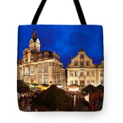 Christmas Fair In Front Of Town Hall Tote Bag