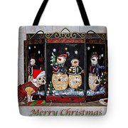 Christmas Fireplace Puppy Tote Bag by Photography by Laura Lee