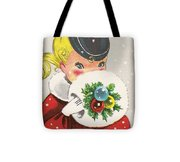 Christmas Greetings 1236 - Vintage Christmas Cards - Little Girl With Snow Ball Tote Bag
