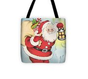 Christmas Illustration 1216 - Vintage Christmas Cards - Santa Claus With Christmas Gifts Tote Bag