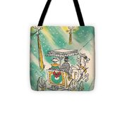 Christmas Illustration 1218 - Vintage Christmas Cards - Horse Drawn Carriage Tote Bag