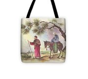 Christmas Illustration 1221 - Vintage Christmas Cards - Mother Mary With Infant Jesus Tote Bag