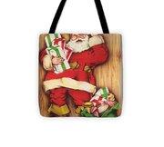 Christmas Illustration 1230 - Vintage Christmas Cards - Santa Claus With Christmas Gifts Tote Bag