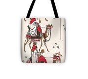 Christmas Illustration 1234 - Vintage Christmas Cards - Three Kings On Camel Tote Bag