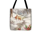 Christmas Illustration 1239 - Vintage Christmas Cards - Christmas Robins On Pine Leaves Tote Bag
