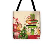 Christmas Illustration 1240 - Vintage Christmas Cards - Family With Christmas Gifts Tote Bag