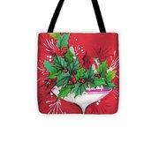 Christmas Illustration 1241 - Vintage Christmas Cards - Mistletoe Tote Bag