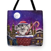 Christmas Koala In Chimney Tote Bag