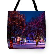 Christmas Lights At Locomotive Park Tote Bag