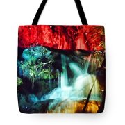 Christmas Lights At The Waterfall Tote Bag