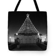 Christmas Lights On Manhattan Pier B And W Tote Bag