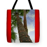 Christmas Lights On Palm Trees Tote Bag