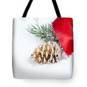 Christmas Objects On Snow  Tote Bag