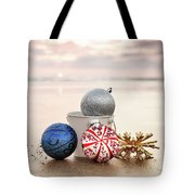 Christmas Ornaments On The Beach Tote Bag