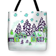 Christmas Picture In Green And Blue Colours Tote Bag