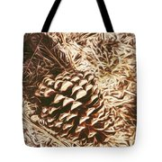 Christmas Pinecone On Barn Floor Tote Bag