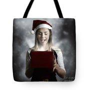 Christmas Present Girl Opening Magic Gift Box Tote Bag