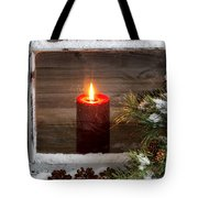 Christmas Red Candle With Snow Covered Home Window And Pine Tree Tote Bag