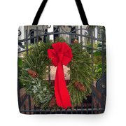 Christmas Ribbon On Iron Door Tote Bag