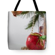 Christmas Tree Branch And Decoration In A Vase Tote Bag