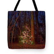 Christmas Tree In Forest Tote Bag