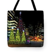 Christmas Tree On New Year's Eve In The Street Of A Big City Tote Bag