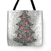 Christmas Tree Pen And Ink Drawing Tote Bag