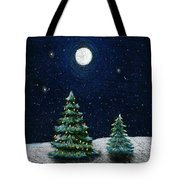 Christmas Trees In The Moonlight Tote Bag