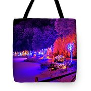 Christmas Trees Row And Frozen Lake View Tote Bag