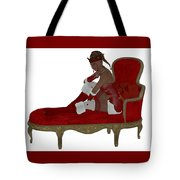 Christmas Woman On Couch Tote Bag