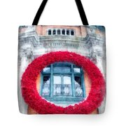 Christmas Wreath Old Quebec City Tote Bag