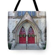Christmas Wreaths On Red Church Doors Tote Bag
