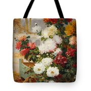 Chrysanthemums In A Walled Garden Tote Bag