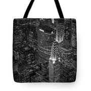 Chrysler Building Aerial View Bw Tote Bag