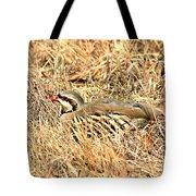 Chuckar Bird Hiding In Grass Tote Bag