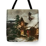 Church And Cottage With Lighted Windows Tote Bag