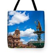Church And Fountain In Cusco Peru Tote Bag