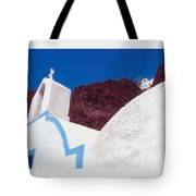Church And Windmill In Santorini Greece Tote Bag