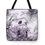 Church Clock In Autumn Tote Bag