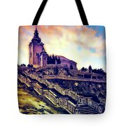 Church Dominant With Decorative Historical Staircase, Graphic Work From Painting. Tote Bag