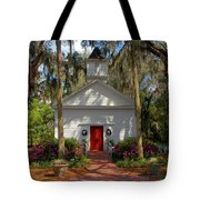 Church In Spring Tote Bag