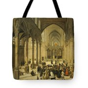 Church Interior With Christ Preaching To A Congregation, 1570 Tote Bag