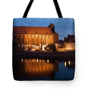 Church Of Our Lady On Sand In Wroclaw By Night Tote Bag