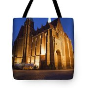 Church Of The Holy Cross By Night In Wroclaw Tote Bag