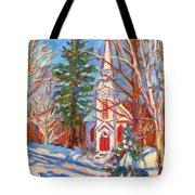 Church Snow Scene Tote Bag