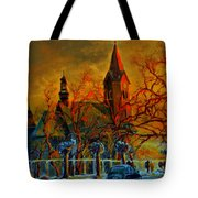 Church Winter Sunset Tote Bag