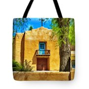Church With Blue Door Tote Bag