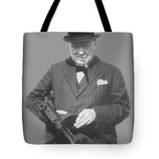 Churchill Posing With A Tommy Gun Tote Bag