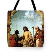 Cima Da Conegliano The Incredulity Of St Thomas With St Magno Vescovo Tote Bag