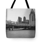 Cincinnati And Bridge Black And White  Tote Bag